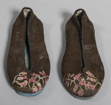 Pair of Antique Hand Embroidered Silk Ladies Shoes