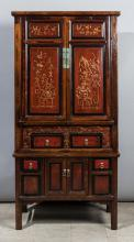 Ornately Carved Two Member Wedding Armoire