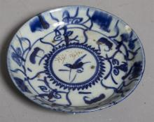Glazed Porcelain Hand Painted Blue and White Plate, Qing Dynasty,