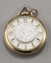 Pendant watch, Lady Nelson on dial, jewel Swiss movement, base metal gold painted