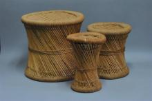 Three stools with jute rope designs (heights: 17, 14 and 14 inches)