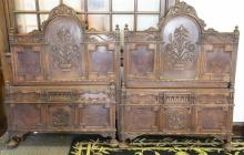 Pair of Art Deco twin headboards and footboards