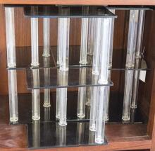 Four plastic shelf units (height: 14 1/2 inches each)