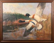Phil Brinkman, Missouri (b. 1916), Mallards in Flight, oil on canvas, 26 x 34 inches