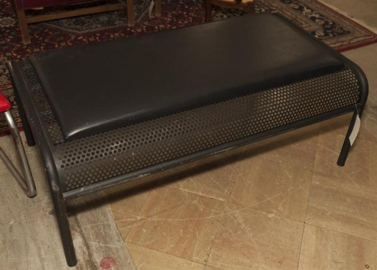 Modern Design Black Metal Bench With Padded Seat