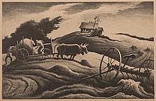 Thomas Hart Benton, American (1889-1975), New England Farm, 1951, lithograph, 9 x 13 3/4 inches