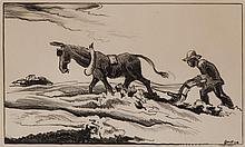 Thomas Hart Benton, American (1889-1975), Plowing, lithograph, 8 x 13 inches