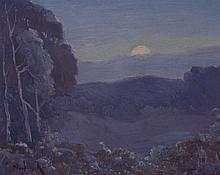 Frank Nuderscher, American (1880-1959), Moonlight, oil on board, 8 x 10 inches