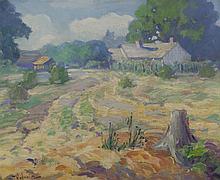 Frank Nuderscher, American (1880-1959), Missouri Farm, oil on board, 14 x 17 inches