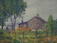 Frank Nuderscher, American (1880-1959), Missouri Cottage, oil on board, 12 x 16 inches