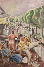 Joseph Paul Vorst, American (1897-1947), Animated street scene, oil on masonite, 40 x 26 inches
