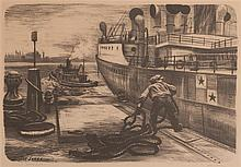 Joe Jones, American, (1909-1963), Oil Barges, lithograph, 13 x 18 1/2 inches