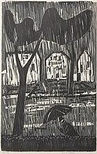 Werner Drewes, American (1899-1985), Rain, 1959, woodcut in black and grey, 22 3/4 x 14 inches