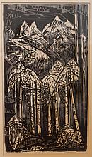 Werner Drewes, American (1899-1985), Aspen forest in the Rockies, woodcut in black and grey, 24 3/8 x 13 3/4 inches