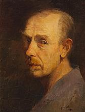 Gustav Goetsch, American (1877-1969), Self-portrait, 1923, oil on board, 18 x 14 inches