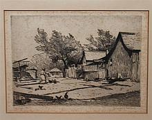 Gustav Goetsch, American (1877-1969), The squatter, etching, 5 x 7 inches