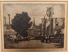 Gustav Goetsch, American (1877-1969), From Mc Island, Minneapolis, MN, etching, 6 x 8 inches