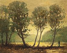 Gustav Goetsch, American (1877-1969), Dawn, 1958, oil on board, 16 x 20 inches