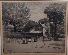 Gustav Goetsch, American (1877-1969), A summer day, 1948, etching, 7 1/2 x 8 3/4 inches