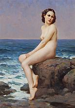 Joseph Tomanek, American (1889-1974), Nude, oil on board, 10 x 14 inches