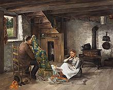 Paul E. Harney, American (1850-1915), Interior, 1890, oil on canvas, 44 x 36 inches