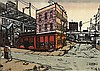 Elizabeth Cavanagh Cohen, St. Louis (late 20th Century), Broadway & Chouteau, 1982, color woodcut, 36 x 40 inches, Elizabeth Cavanagh Cohen, Click for value