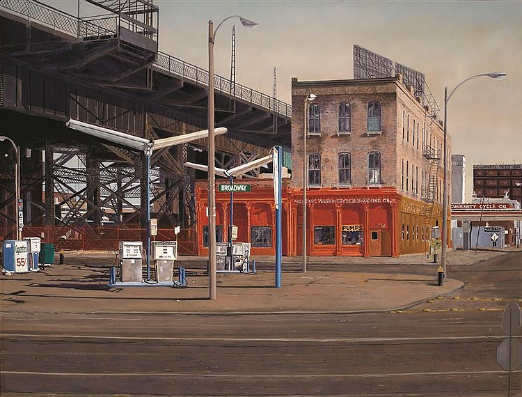 Elizabeth Cavanagh Cohen, St. Louis (late 20th Century), Broadway & Chouteau (Guaranty Cycle), 1980, oil on canvas, 51 x 64 inches
