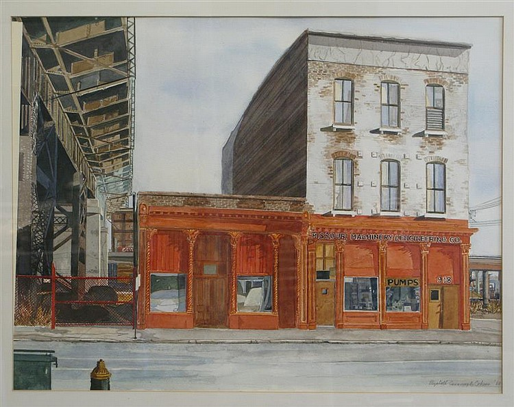 Elizabeth Cavanagh Cohen, St. Louis (late 20th Century), Missouri Pumps II, 1980, watercolor on paper, 26 x 30 inches