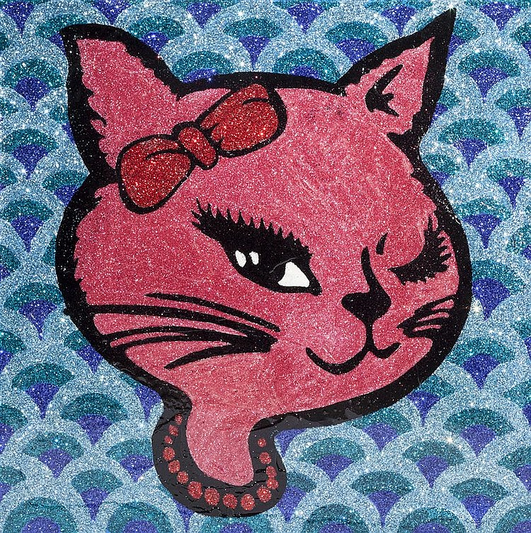 Maggie Wheelock, American (B. 1974), Sparkle Kitten II, acrylic, glitter, clear resin coating on canvas, 35 1/2 x 35 1/2 inches