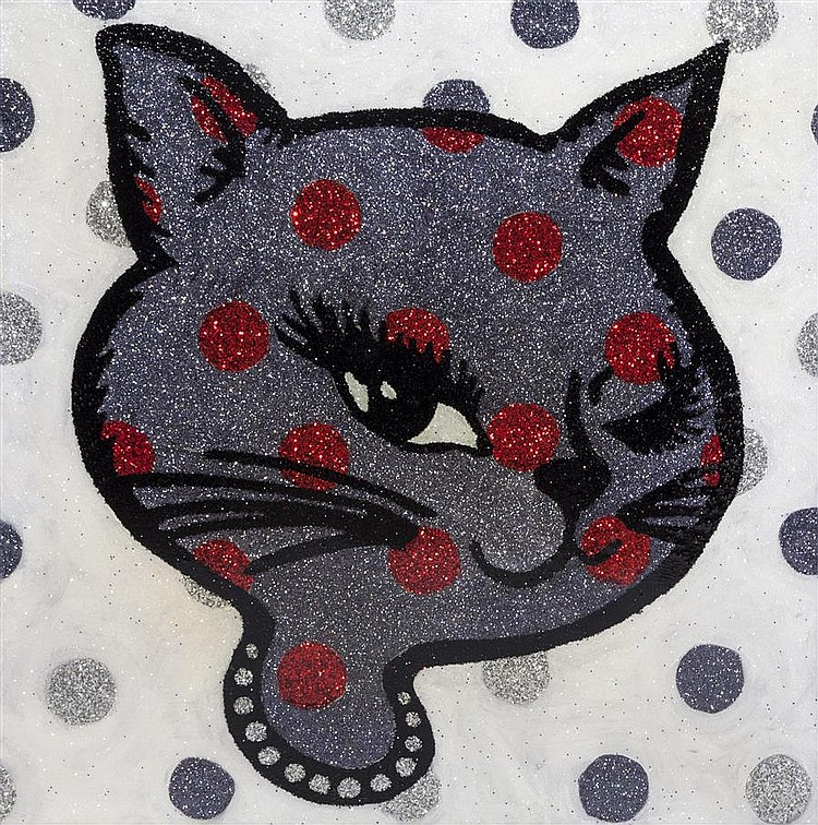 Maggie Wheelock, American (B. 1974), Sparkle Kitten V, Acrylic, glitter, clear resin coating on canvas, 24 x 24 inches
