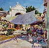 Walter Gonske, American (b. 1952), Village Scene, oil on canvas, 29 1/2 x 29 1/2 inches, Walt Gonske, Click for value