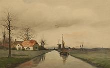 George Leonard Herdle, American (1868-1922), Dutch canal scene, watercolor, 14 3/4 x 22 inches