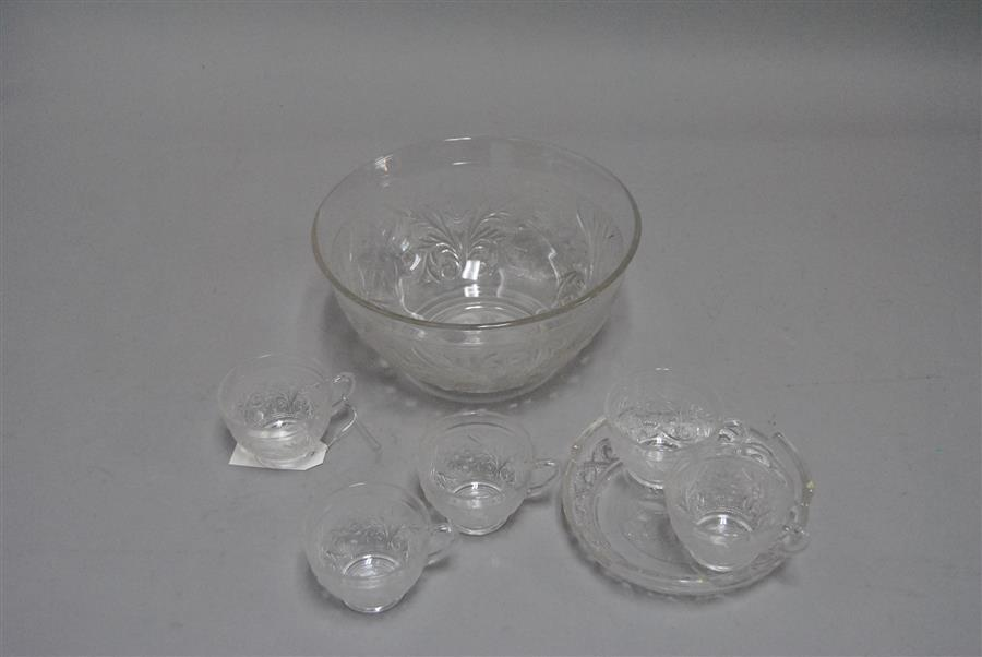 Collection of sandwich glass including a serving bowl, shallow bowl, and thirteen cups