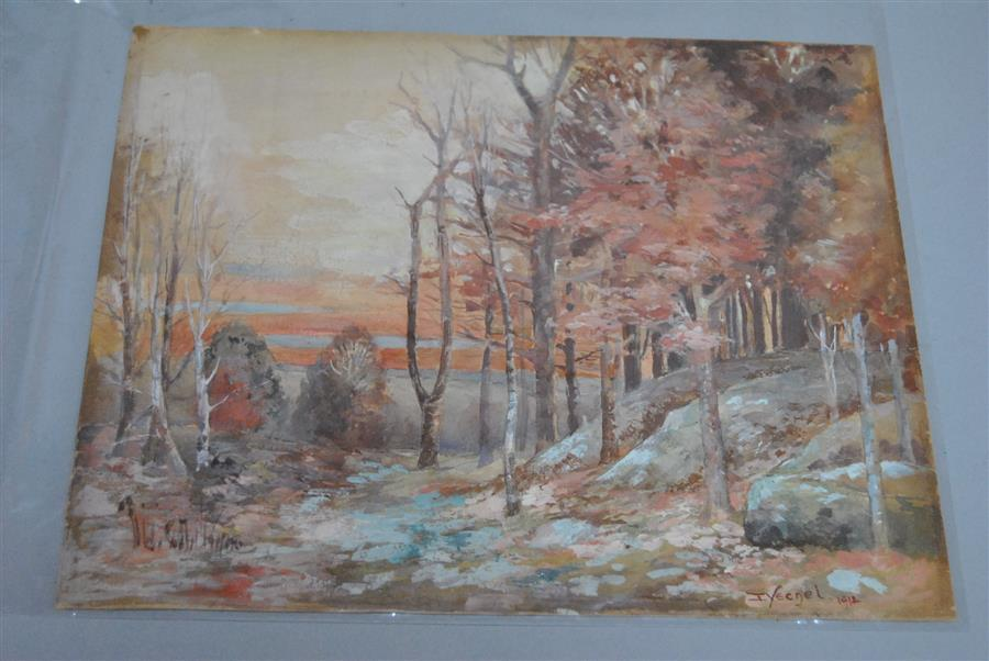 Early 20th century, Landscape at sunset, 1912, watercolor on paper, 10 x 12 inches