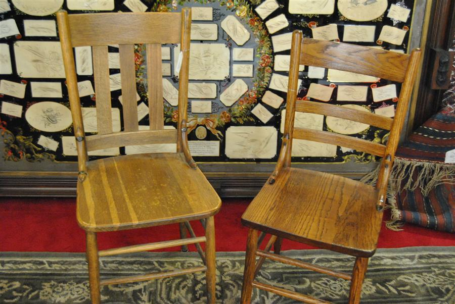 Two wooden country primitive chairs