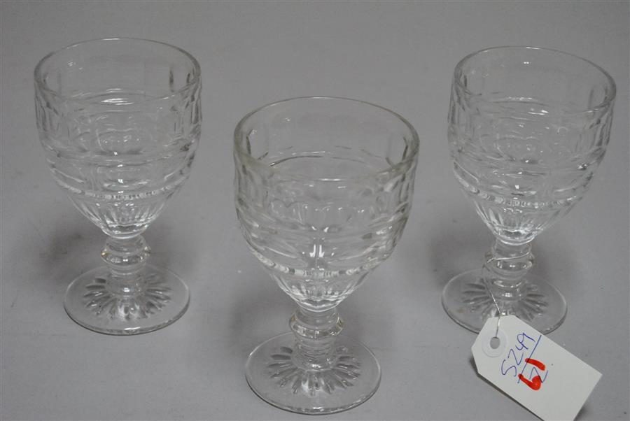 Collection of twelve pattern glass stemware pieces