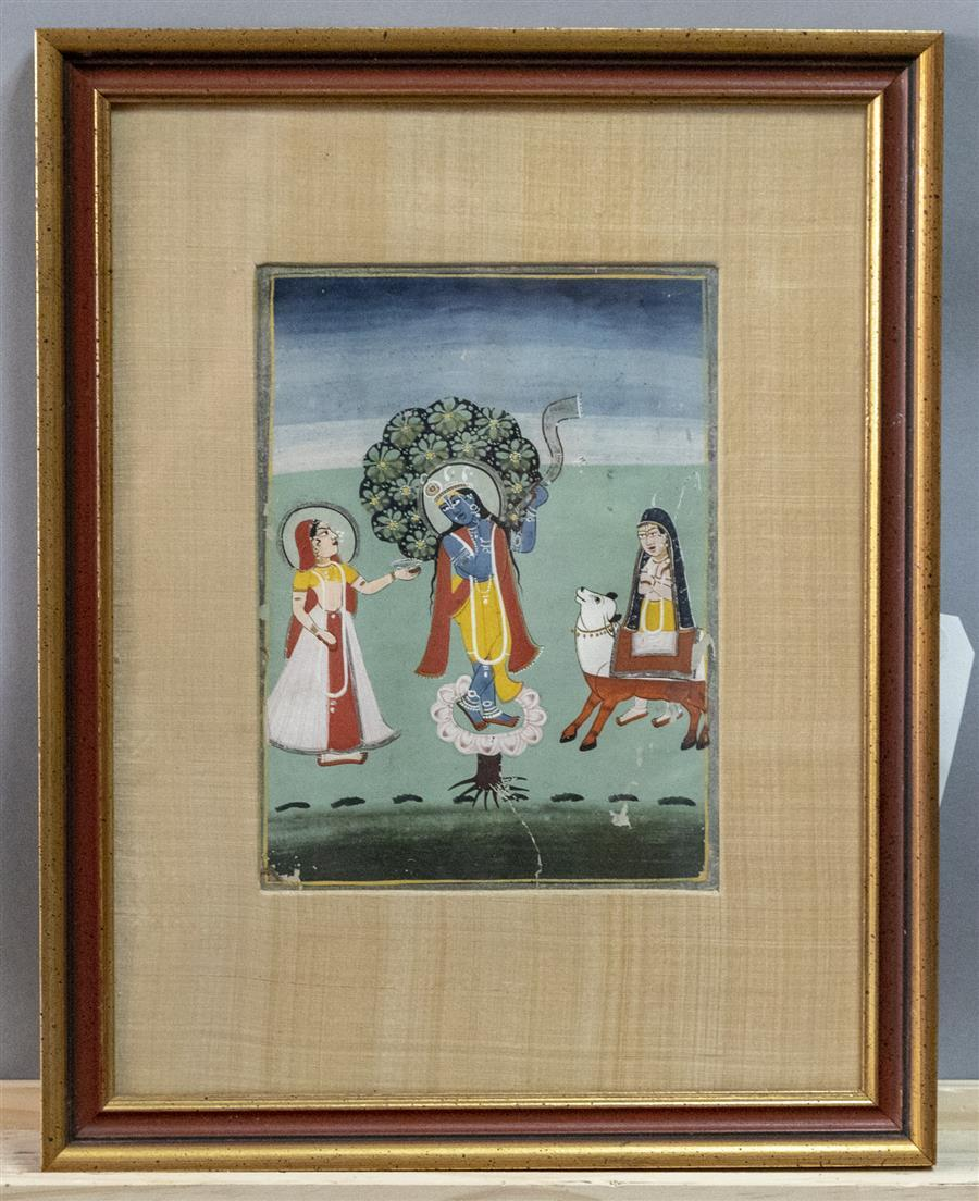 Antique Hindu Painting Of Krishna