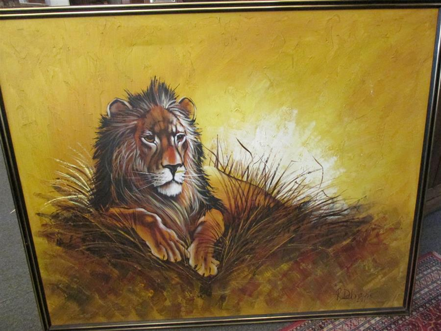 Large oil painting on canvas of a lion, artist signed indiscernibly