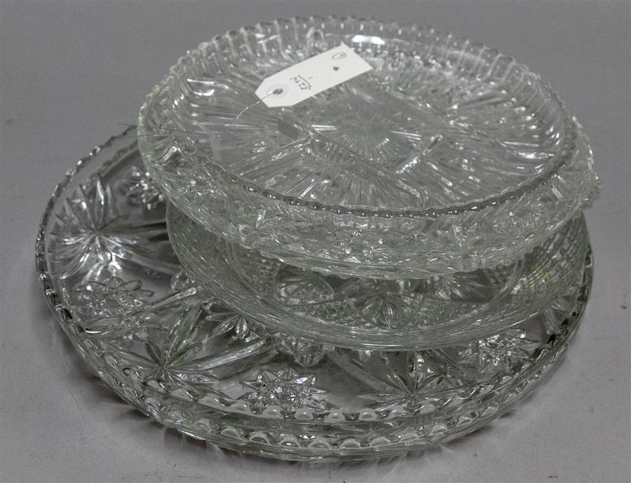 Collection of six pressed glass serving platters and dishes