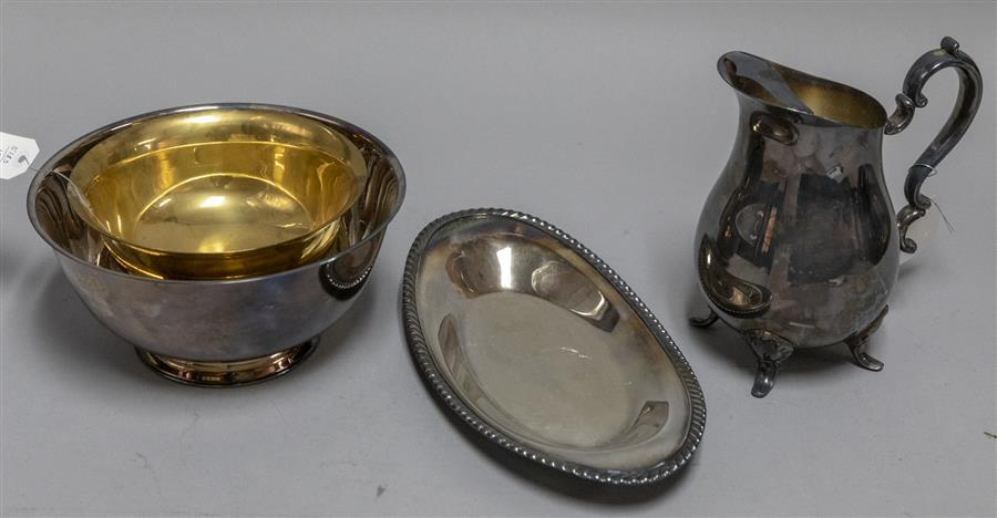 Plated silver water pitcher, small serving tray, bowl, and a brass bowl