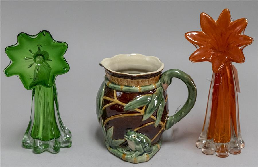 Pair of art glass vases and a glazed ceramic pitcher