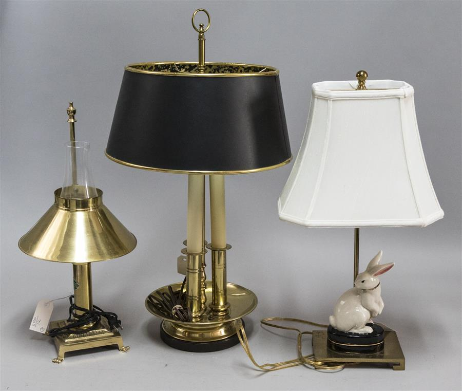 Three assorted table lamps