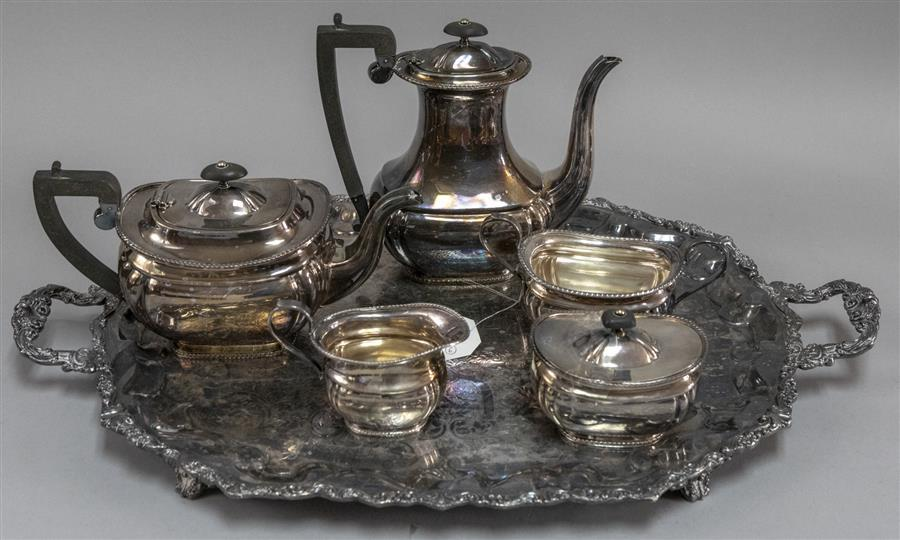 Five pieces Sheffield silver on copper coffee and tea set with a plated silver serving tray