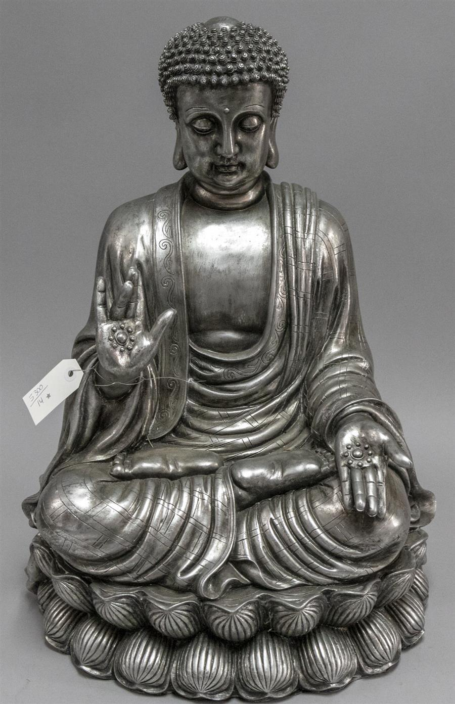 Composition silvered Buddha sculpture