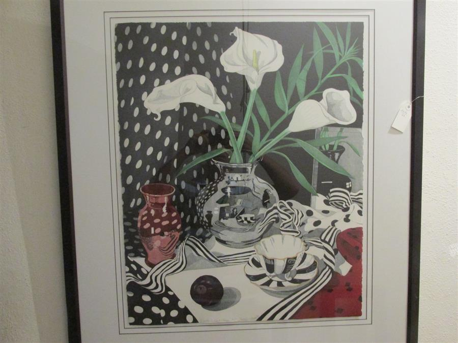 "Lot 10: Framed mezzotint of calla lilies titled, ""Calla Lilies and Plum"" by Sherie Wolf"
