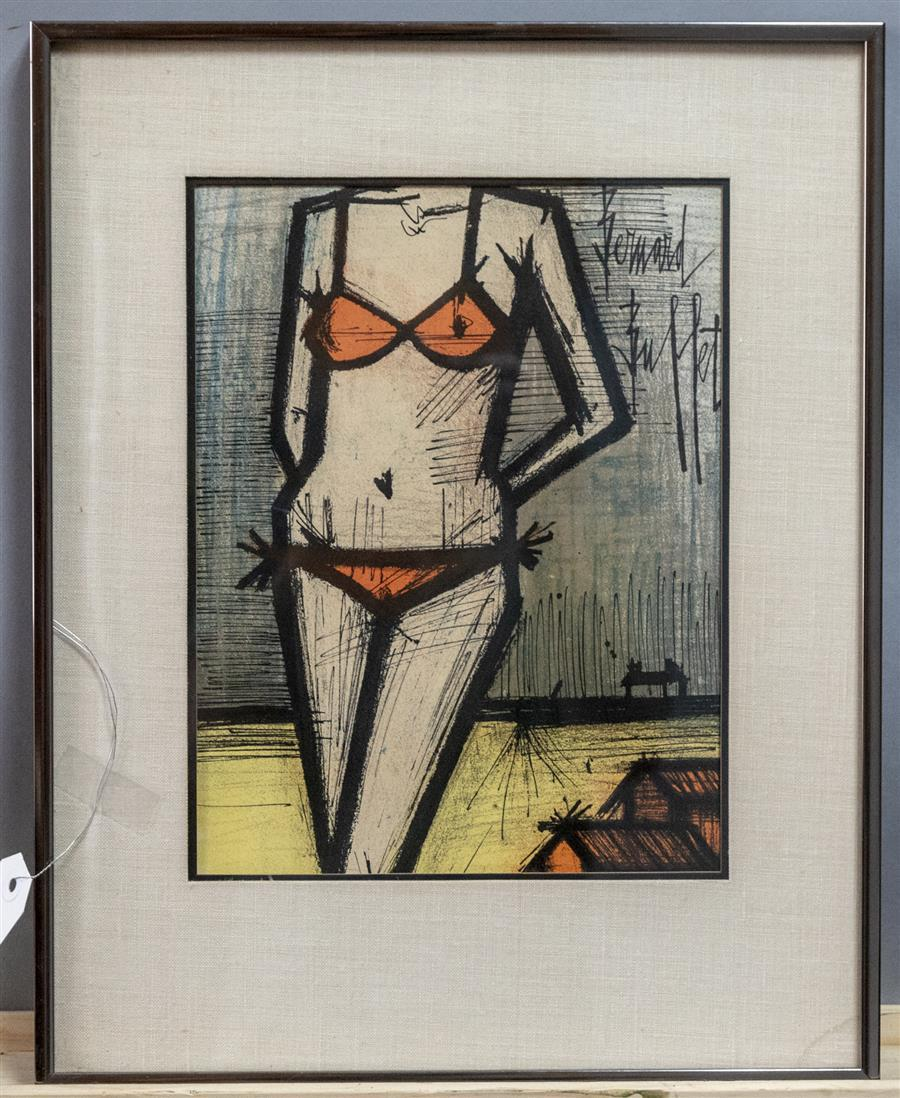 Framed original lithograph by Bernard Buffet featuring a woman in a bikini