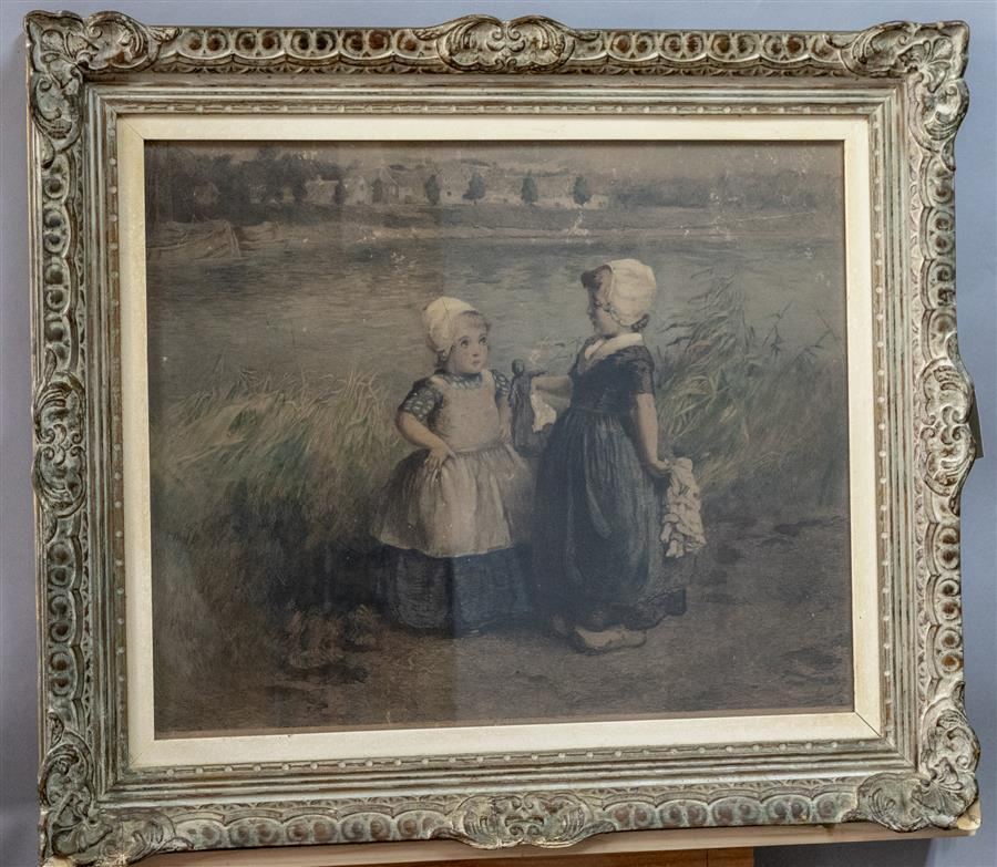 Framed etching by Carel featuring two Dutch girls with their dolls