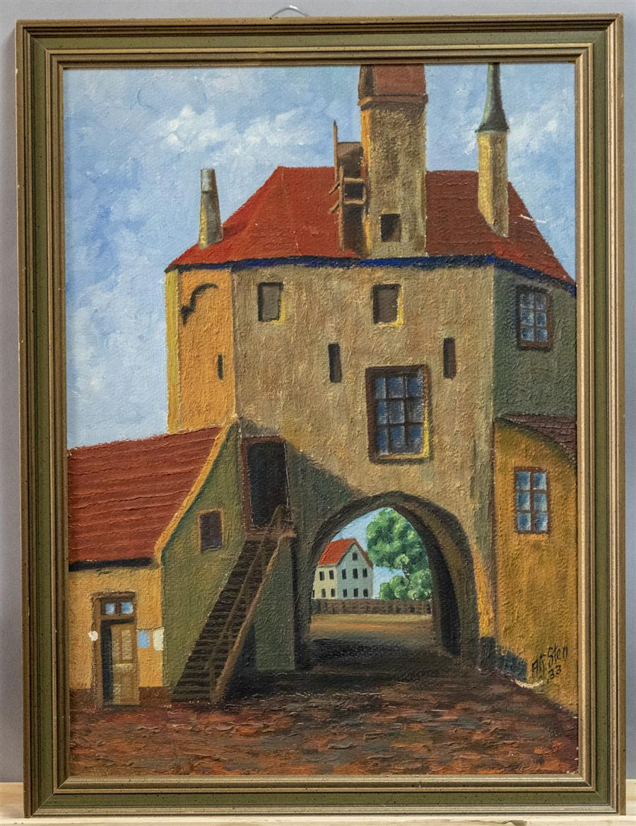 Framed oil painting on board, artist signed and dated, depicting a house featuring an arch drive through