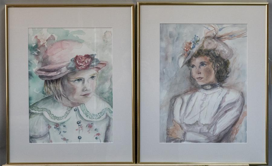 "Pair of framed watercolors, artist signed ""Patricia"" and dated 1999"