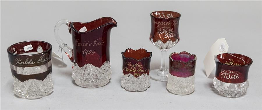 Collection of six 1904 World's Fair ruby red to clear glass mugs and toothpick holders